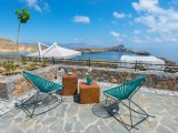 Lindos Vigli Private Villa upper courtyard with sea view