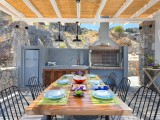 Lindos Vigli Private Villa outdoor kitchen and BBQ area